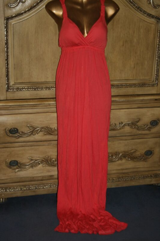 $40 NWT PINK ROSE XL JR CORAL PADDED BUST DEEP V EMPIRE RACERBACK MAXI DRESS