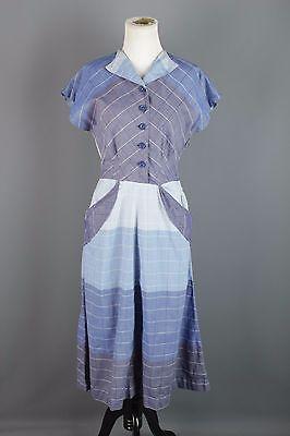 VTG 40s 50s Blue-tones Cotton Shirtwaist Dress #1444 1940s 1950s