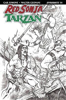 RED SONJA TARZAN #4 1:10 Geovani B/&W Cover E Variant Comic Book NM Dynamite