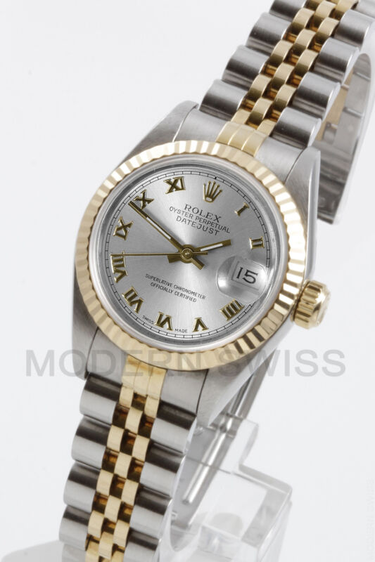 Rolex Ladies Datejust 18k Gold & Steel Silver Roman Dial Jubilee 69173 Quickset