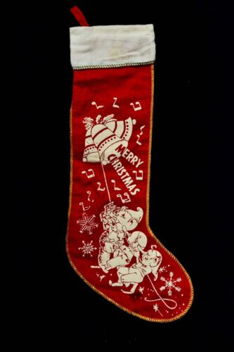 VINTAGE CHRISTMAS  STOCKING WITH VERNON GRANT KELLOGG  ELVES-SNAP,CRACKLE & POP