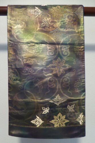 #70 Vintage Japanese Silk Fukuro Obi, Iridescent