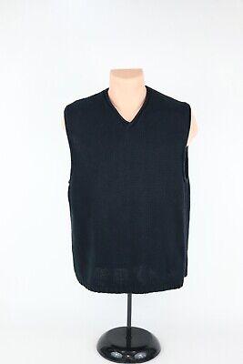 Older/Vtg J. Crew Mens Large Black Linen/Cotton Casual Knit Sweater Vest