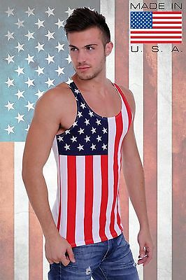 MEN'S RED WHITE AND BLUE USA FLAG TANK TOP AMERICAN SLEEVELESS TEE T-SHIRT ](Red White And Blue Flag)