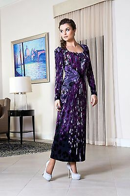 Occasion Party Evening Cocktail - PARTY DRESS LONG SLEEVE Wedding Cocktail Evening Occasion Purple Dress Stretch S