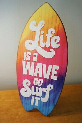 LIFE IS A WAVE GO SURF IT Surfboard Sign Tropical Beach Home Tiki Bar Decor NEW Sign Surf Decor Tiki Bar