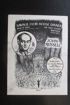 1962 THE SAVAGE CLUB MENU CARD JOHN WORSLEY CARTOON CARICATURE JOHN RUSSELL