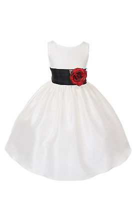 Poly Silk Flower Girl Pageant Dress w/Sash and Flowers-Ivory/Black - Flower Girl Dresses Black And Ivory