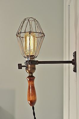 Vintage Industrial Cage Light with Wall Mount - Machine Age Trouble Lamp Sconce