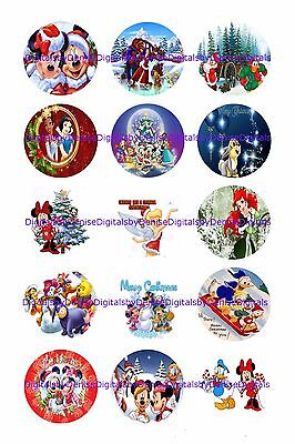 Disney Christmas 1  Circles  Bottle Cap Images   2 45  5 50    Free Shipping