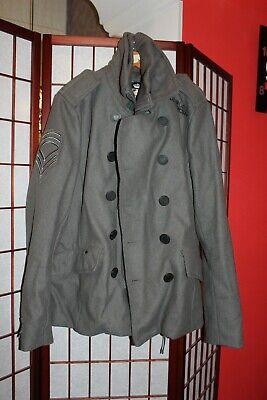 SuperDry Navy Label  Classic Pea Coat British Design size L . ALY