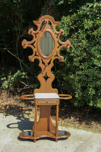 Walnut Victorian Renaissance Revival Period Marble Top Hall Tree Stand ~ Ca.1870