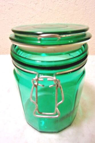 Vintage Dolgencorp 12 SIDED Canister Jar GREEN Mason Canning Glass Pint Wired