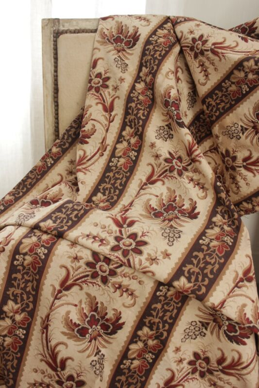 Fabric Antique French madder brown c1840 curtain panel linen cotton blend old
