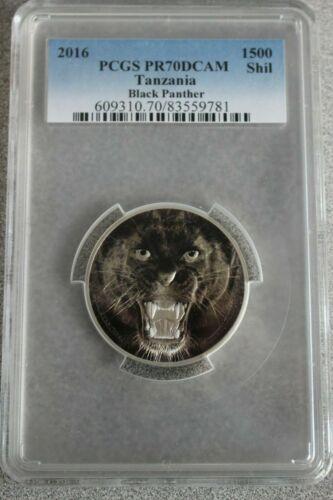 2016 1500 Shilling Tanzania Black Panther 2 oz. Silver Coin PCGSPR70DCAM - RARE