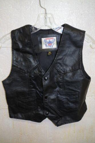 Vintage VANGUARD Rare 70s Boys 12 Black Leather VEST Snaps Hippy