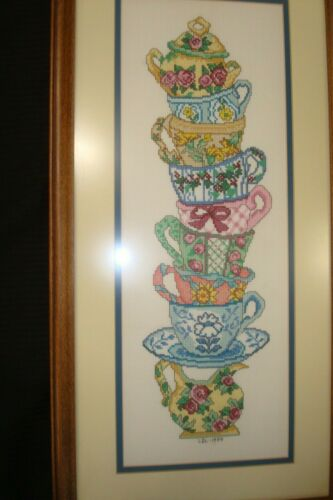 """Completed Candamar CROSS STITCH Teacup Stack Framed Picture 12"""" x 24"""" Finished"""