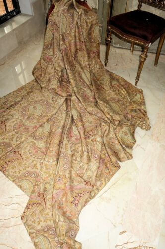 "MAKE OFFER             LOVELY PAISLEY FRENCH ANTIQUE FABRIC  79"" X 79"""
