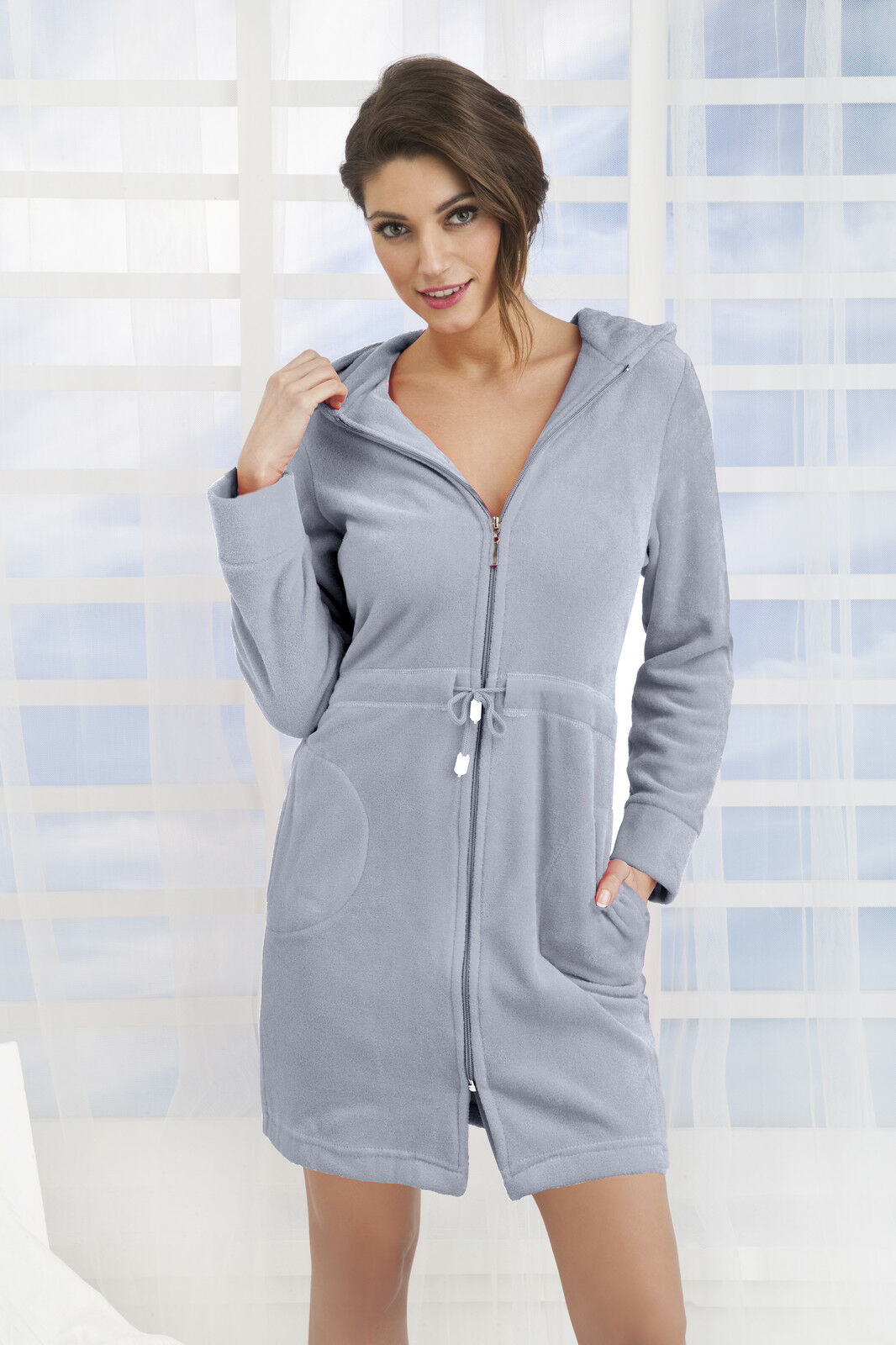 3326b384fd New Womens Cotton Dress Style Bath Robe Housecoat Dressing Gown Zip Up with  Hood