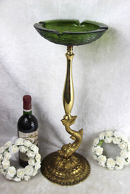 French vintage mid century brass dolphin empire fish ashtray stand green glass