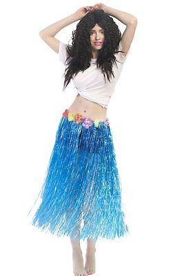 Karneval Hawaii Rock Bastrock Südsee Pazifik Hula Skirt Blau Lang 75 - 80 cm (Langer Hula Rock)