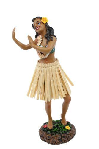 "Hawaiian Hula Lady Dancing Dashboard Doll - 7"" Car Doll Hawaii Souvenir, Natural"