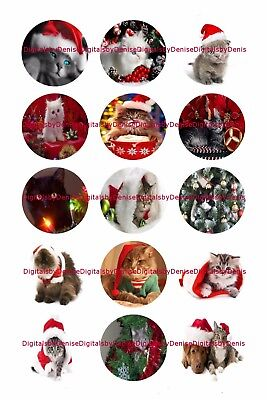 Christmas Cats 1  Circles Bottle Cap Images   2 45  5 50    Free Shipping