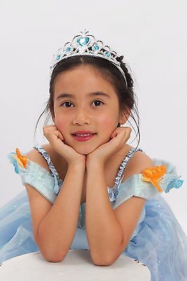 Cinderella Costume Light up girls blue Princess with Tiara T S M 2-4 4-6 6-8