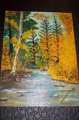 OLD OIL ART PASTEL PAINTING~Plein Air Landscape~RARE Mountain Lake~Valentine~73'
