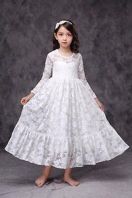 White Ivory Navy Lace Long Flower Girl Dress Birthday Wedding Communion Ship - Communion Dresses Usa
