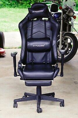 Gtracing Gaming Chair With Footrest Executive Chair Adjustable Reclinerblack