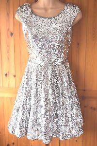Topshop Sparkly Silver Sequin Skater Dress  Size 12