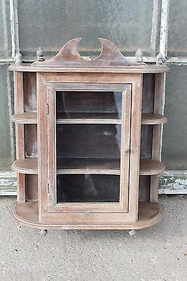 Lovely Vintage Wooden Cupboard Cabinet with Glass Door and Pediment #682