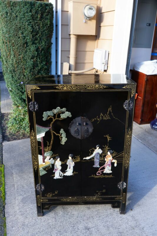 Chinese Antique Asian Black Lacquer Cabinet, Freshly Cleaned and Polished!