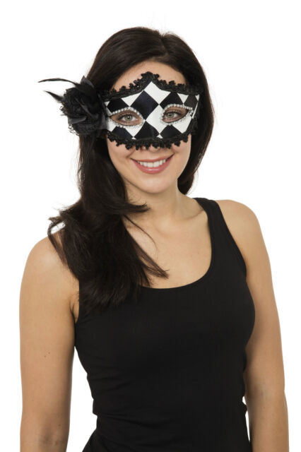 BLACK AND WHITE HARLEQUIN #WOMENS EYE MASK FOR FANCY DRESS MASQUERADE PARTY