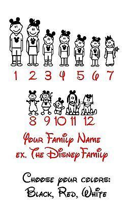 Home Decoration - Disney Stick Figure Family Vinyl Decal Car Stickers Window Personal Custom Cut
