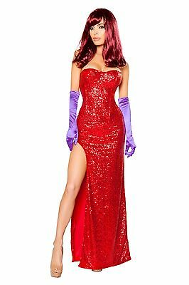 Roma 2pc Rabbits Lover Jessica Rabbit Red Sequin Corset & Skirt Costume 10088