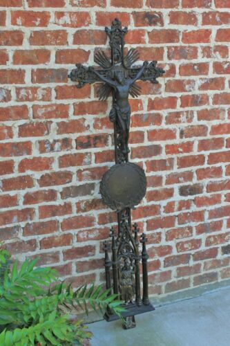 Antique French Cast Iron Cross Crucifix Cemetery Marker Architectural Catholic