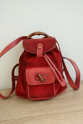 Authentic GUCCI Bamboo Red Suede Leather Backpack #4939