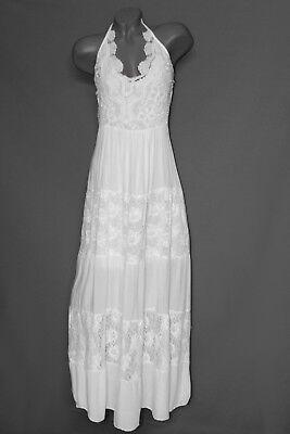 NEU Sommer Maxi Spitzen Kleid Stufen Stand schulterfrei 40 42 44  L XL XXL Italy