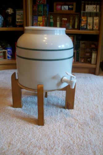 Vintage Porcelain room tempature Water Dispenser with wooden stand set