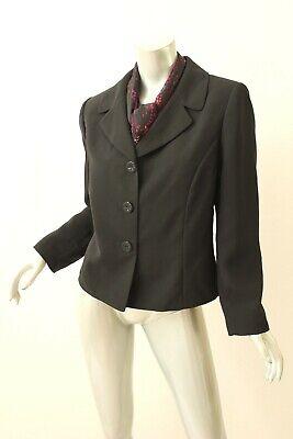SUIT STUDIO Black Button Up Suit Jacket with Scarf 14P - Black Button Studio