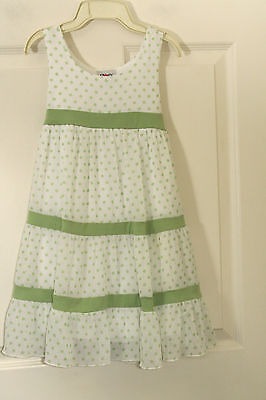 ZOEY GIRL DARLING DRESS WHITE GREEN POLKA DOTS SHEER TIERED LINED TIE IN - Girls In Sheer Dresses