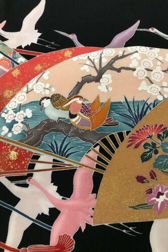 @@ Japanese kimono silk fabric/ tomesode black/ birds, plum blossom EX61