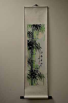 "New Asian Chinese Scroll Painting Green Bamboo Home Decor Feng Shui 38""L73-12g"