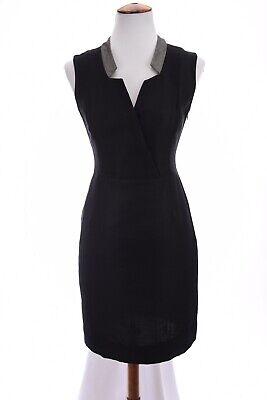 Ports 1961 Sheath Shift Dress Surplice Lightweight Sleeveless Black Sz 4 Small