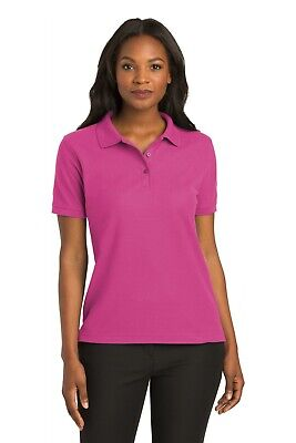 Port Authority Polo (L500 Port Authority Womens Golf Shirt Silk Touch Polo Ladies Tennis Pique Polo )