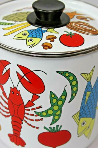 Vintage Retro Enamel 2 Qt Stock Soup Vegetable Lobster San Ignacio Steamer Pot