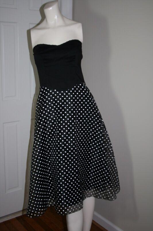 Speechless Strapless Black and White Polka Dot Sheer Overlay Dress  Size 5 EUC