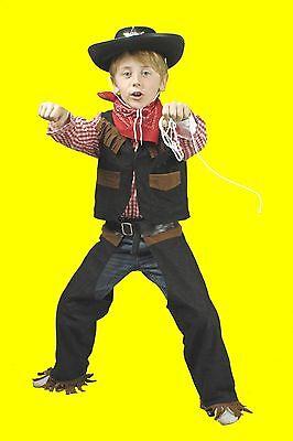 4tlg komplett Jungen Kostüm COWBOY Sheriff Hemd Weste Chaps Hut Cowboyhut - Schwarze Cowboy Chaps & Weste Kostüm